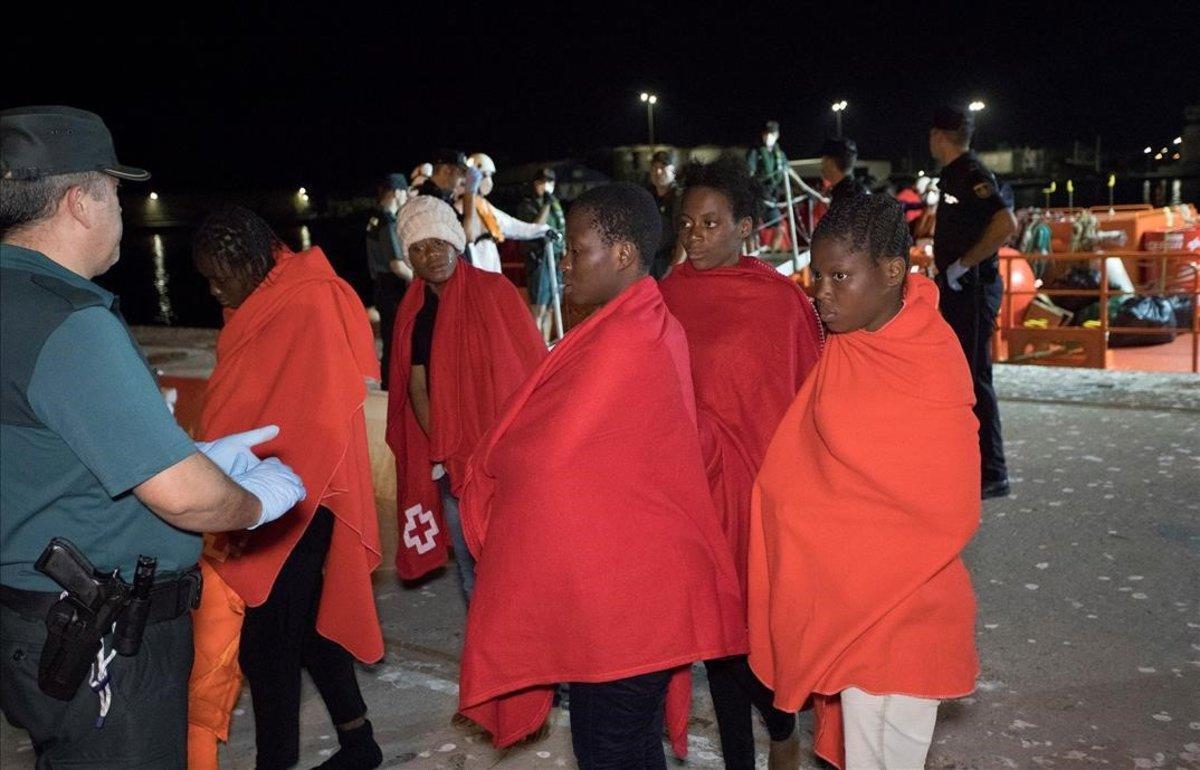 Inmigrantes rescatados el martes 16 de julio del mar de Alborán.