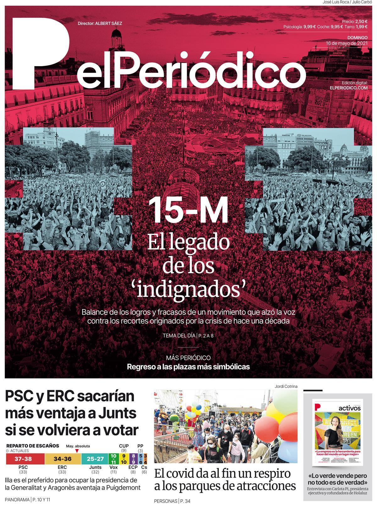 La portada de EL PERIÓDICO del 16 de mayo de 2021