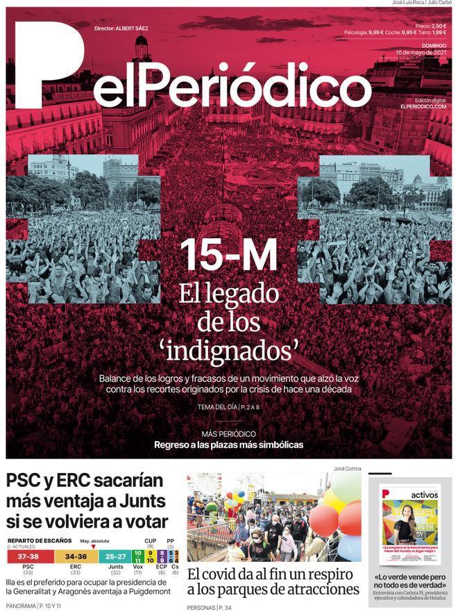 La portada d'EL PERIÓDICO del 16 de maig del 2021