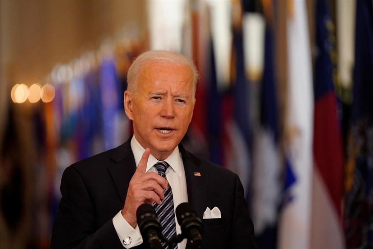 El presidente Biden en su discurso a la nación estadounidense.