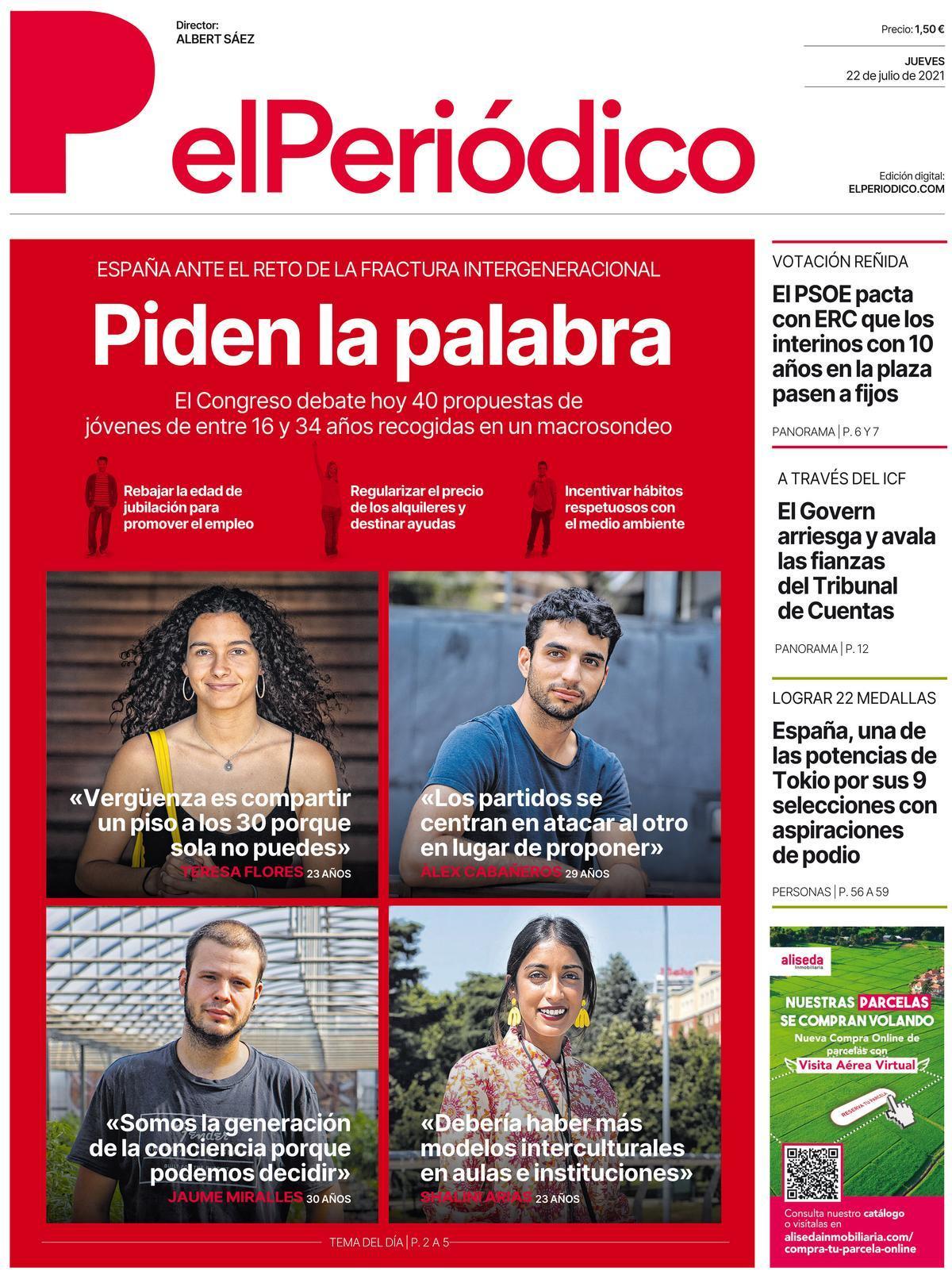 La portada de EL PERIÓDICO del 22 de julio de 2021