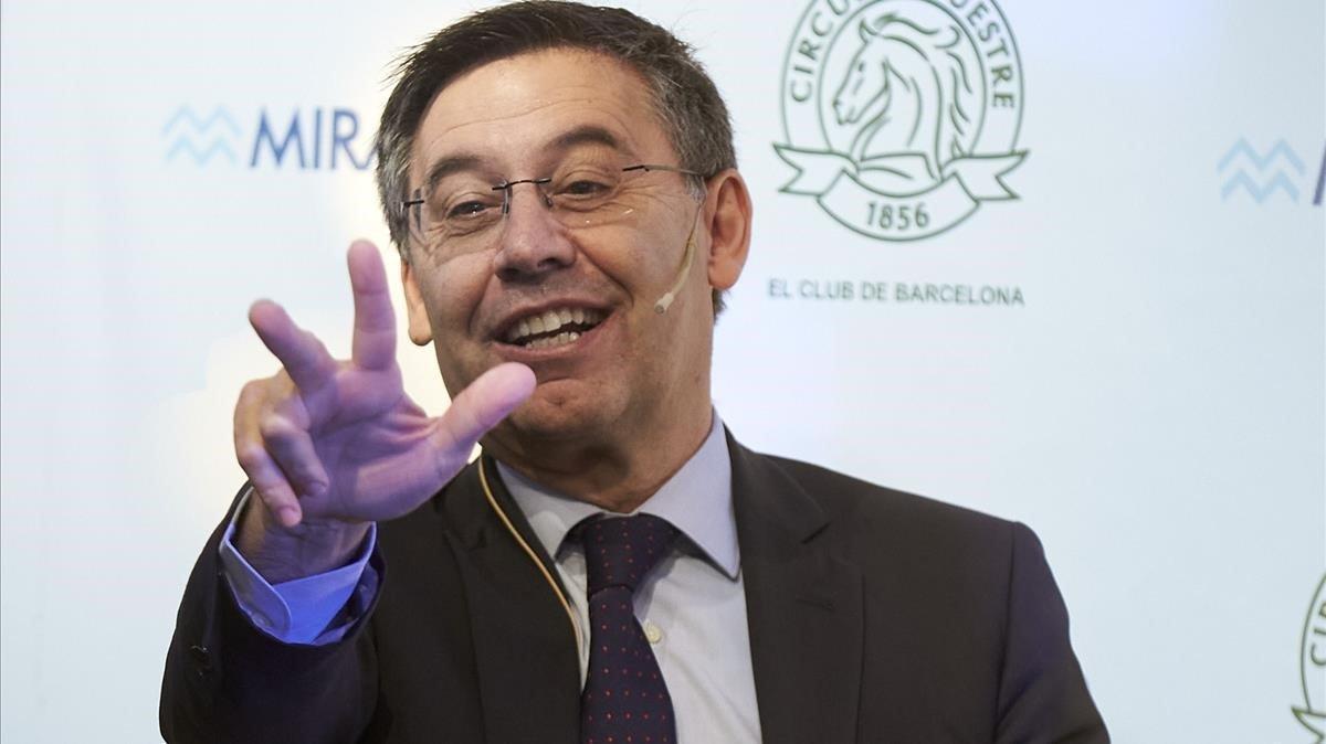 Josep Maria Bartomeu, en una de sus últimas apariciones públicas.
