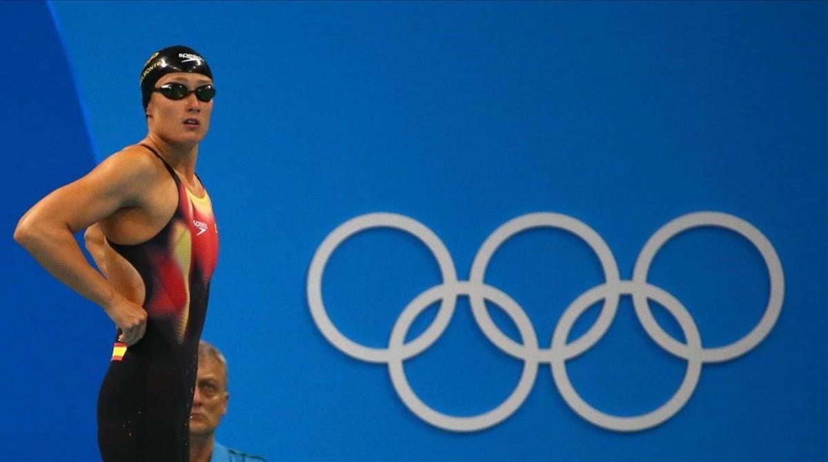 Mireia Belmonte antes de competir en la prueba de los200m mariposa en los Juegos de Río 2016, en la que consiguió la medalla de oro.