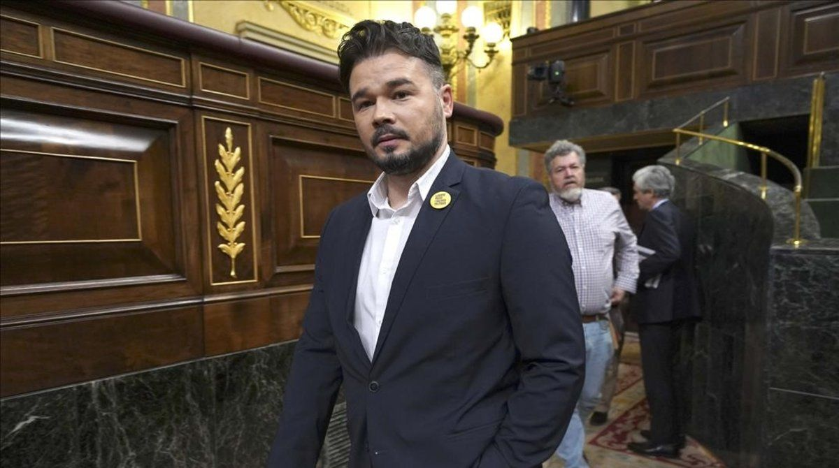 El portavoz de ERC en el Congreso de los Diputados, Gabriel Rufian, este miércoles.
