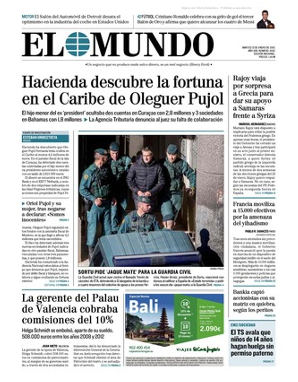 """""""Hacienda descubre la fortuna en el Caribe de Oleguer Pujol"""", titula 'El Mundo'"""