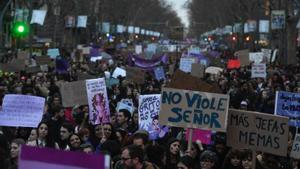 Manifestación por el 8-M en Barcelona, el pasado 2020