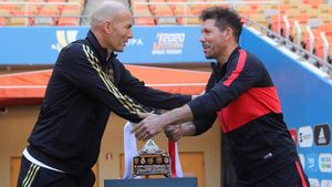 Zidane y Simeone, el día antes de la final de la Supercopa.