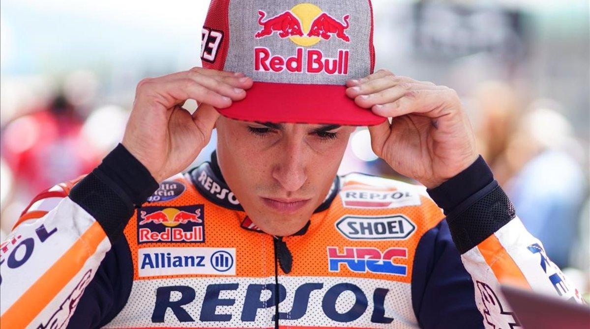 Marc Márquez (Honda), en la parrilla del GP de Australia, en Phillip Island.
