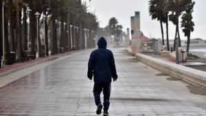 Una persona camina por el Paseo Marítimo de Almería, este lunes.