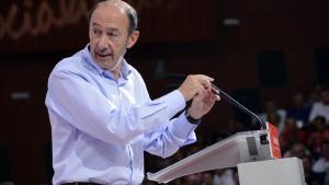 Alfredo Pérez Rubalcaba, en el Congreso extraordinario del PSOE en 2017.