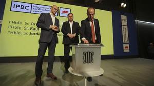Jordi Turull presenta las urnas del 1-O, en septiembre del 2017.