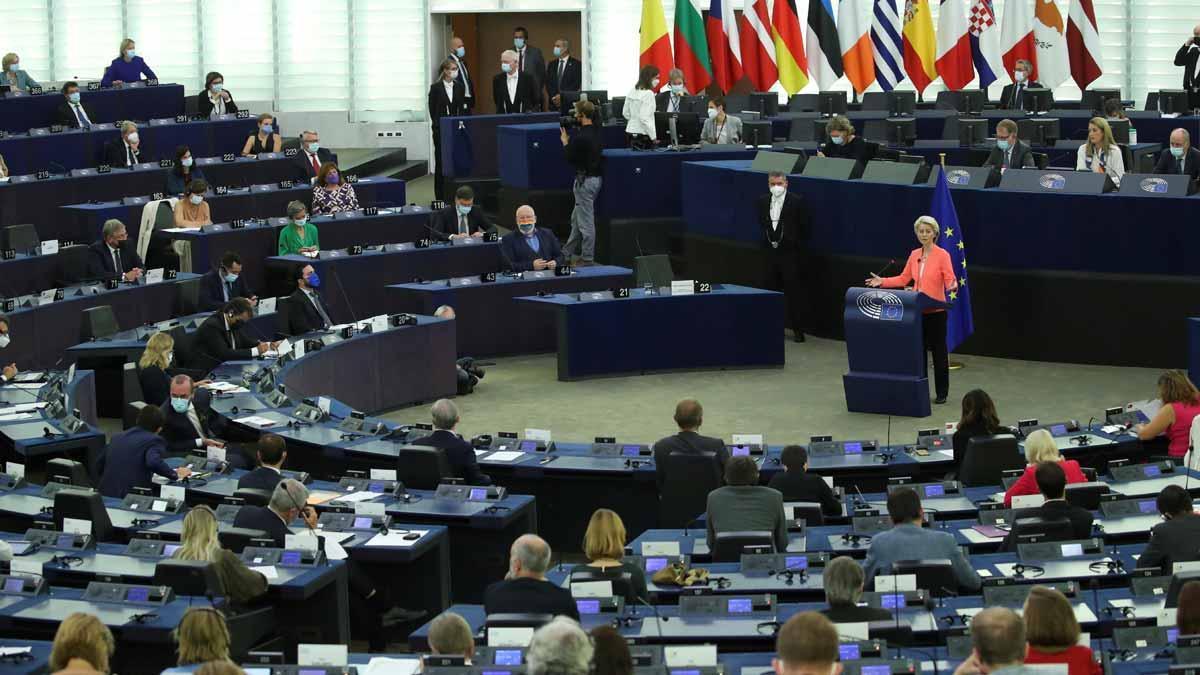 El Parlamento Europeo, durante la intervención de Ursula von der Leyen.