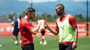 Gallar y Ramalho, en el entrenamiento del Girona en La Vinya de este viernes.