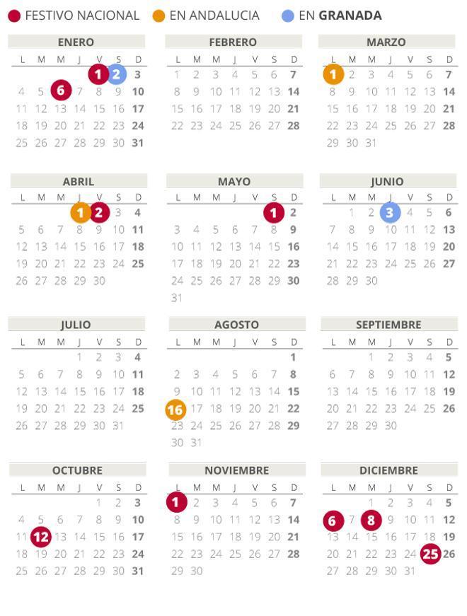 Calendario laboral de Granada del 2021 (con todos los festivos)