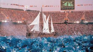 El barco que sorprendió en la actuación de la fura dels Baus en la ceremonia inaugural de Barcelona'92.