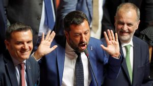 El viceprimer ministro italiano, Matteo Salvini, este martes en el Senado.