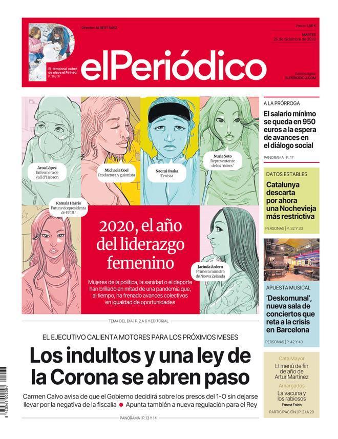 La portada de EL PERIÓDICO del 29 de diciembre del 2020.