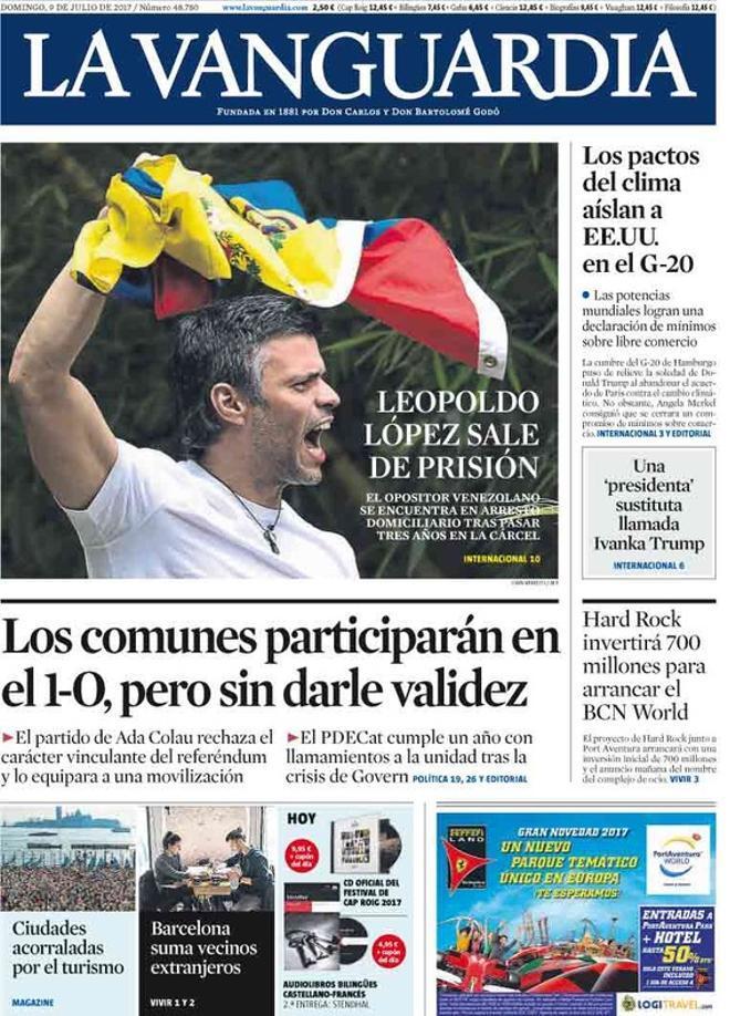 La prensa de Madrid enaltece al dirigente antichavista Leopoldo López, excarcelado por Maduro