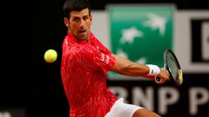 Djokovic durante la final contraSchwartzman en Roma.