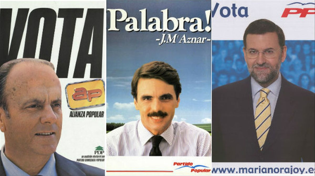 Tres de los carteles electorales del PP desde los comicios generales de 1982