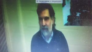 Imágen de Jordi Cuixart durante la videoconferencia desde Lledoners, durante el juicio.