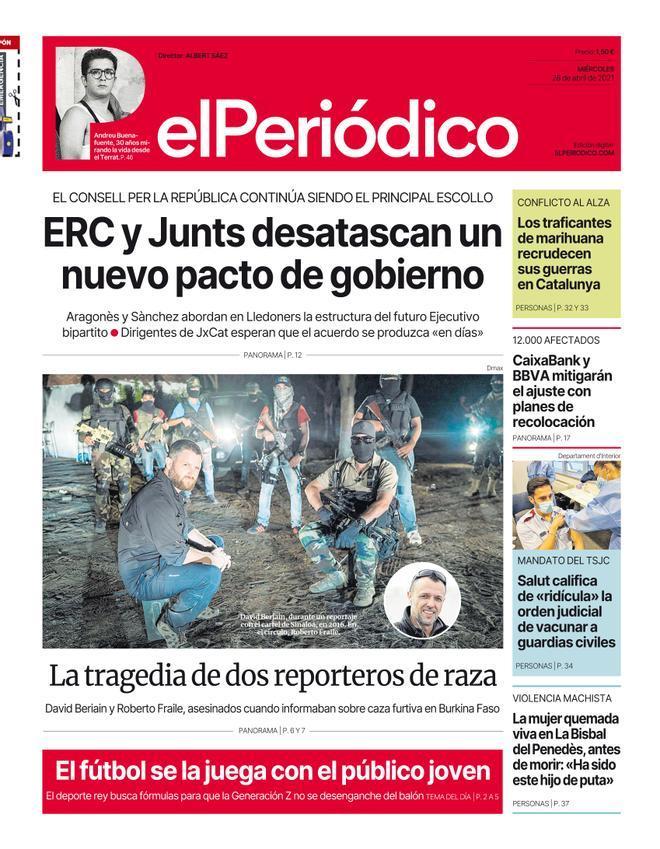 La portada de EL PERIÓDICO del 28 de abril de 2021