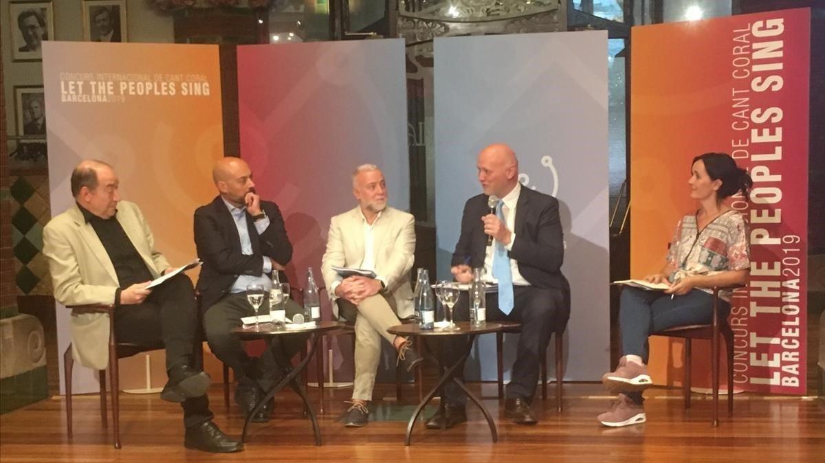 Vicent Sanchis, Saül Gordillo, Àlex Robles, Joan Oller y Buia Reixach, en la presentación del Palau de la Música Catalana.
