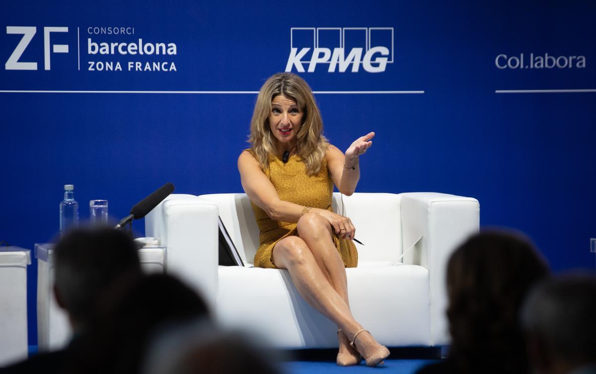 La vicepresidenta tercera y ministra de Trabajo, Yolanda Díaz; durante las jornadas del Cercle d'Economia.