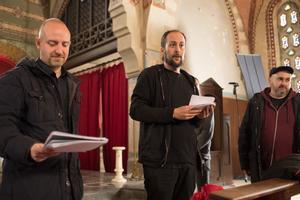 Esteve Soler, Gerard Quinto y David Torras, durante el rodaje.