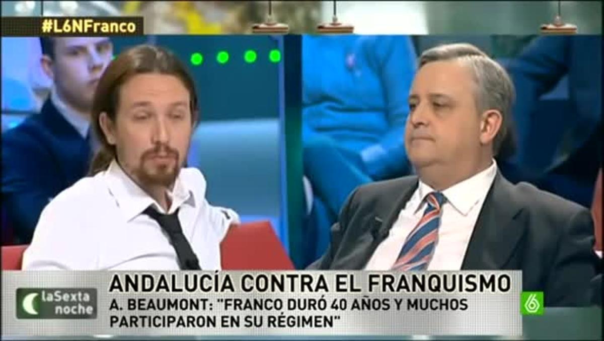 El líder de Podemos, Pablo Iglesias, discute con el periodista Alfonso Rojo en el programa 'La Sexta Noche'.