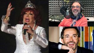 Carmen de Mairena, Bob Pop y Santi Villas, narrador y escritor de la audioserie sobre su vida.