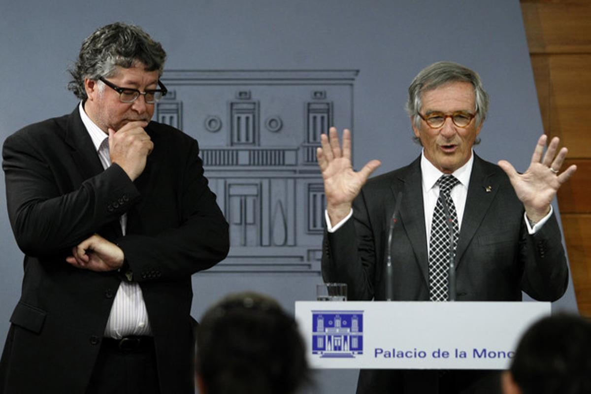 Xavier Trias y Antoni Balmon tras el encuentro con Rajoy.