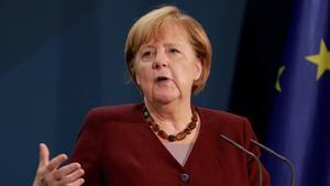 La cancillera alemana, Angela Merkel, durante la rueda de prensa que ha ofrecido tras la clausura de la cumbre del G-20.