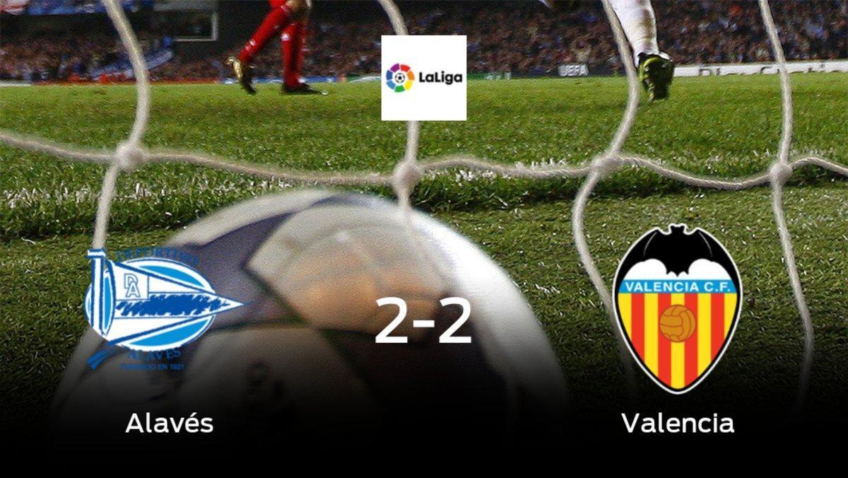 El Alavés y el Valencia se reparten los puntos tras su empate a dos