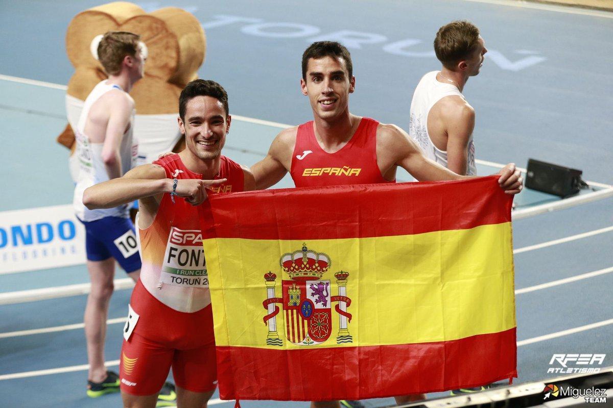 Ignacio Fontes y Jesús Gómez, felices, tras lograr las medallas en el 1.500.