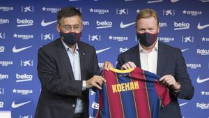 Ronald Koeman  junto al presidente del FC Barcelona Josep Maria Bartomeu  presentado como entrenador de la primera plantilla del Barca para las dos proximas temporadas