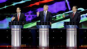 Marco Rubio, Donald Trump y TedCruz.