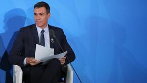 El presidente en funciones, Pedro Sáchez, en la sede de la ONU en Nueva York.