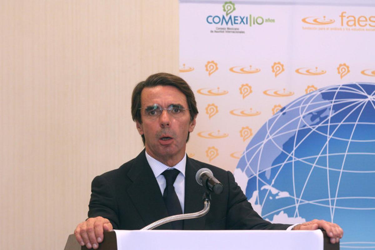 El expresidente del Gobierno Jose María Aznar, en una comparecencia en México.