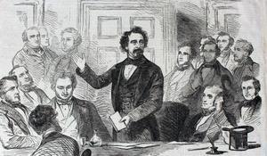 Ilustración de Dickens leyendo una de sus historias. -
