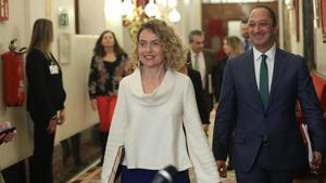 La presidenta del Congreso,Meritxell Batet (PSOE), y el vicepresidente primero,Alfonso Rodriguez Gomez de Celis (PSOE).