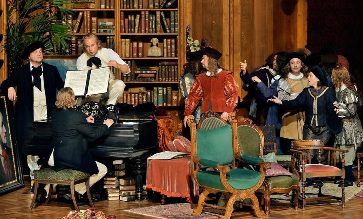 Una escena del primer acto de 'Los maestros cantores de Núremberg', en la producción de Barrie Kosky parael Festival de Bayreuth.