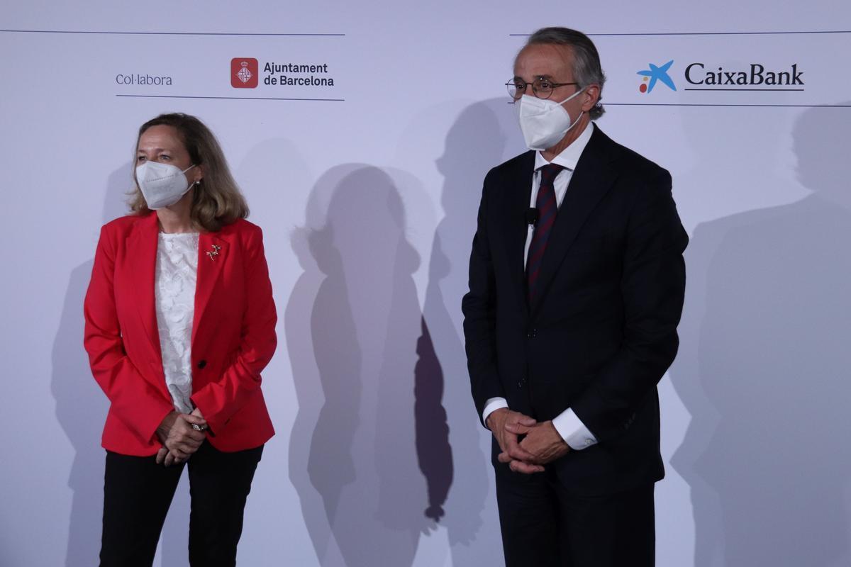 Nadia Calviño y Javier Faus, en la reunión del Cercle d'Economia.