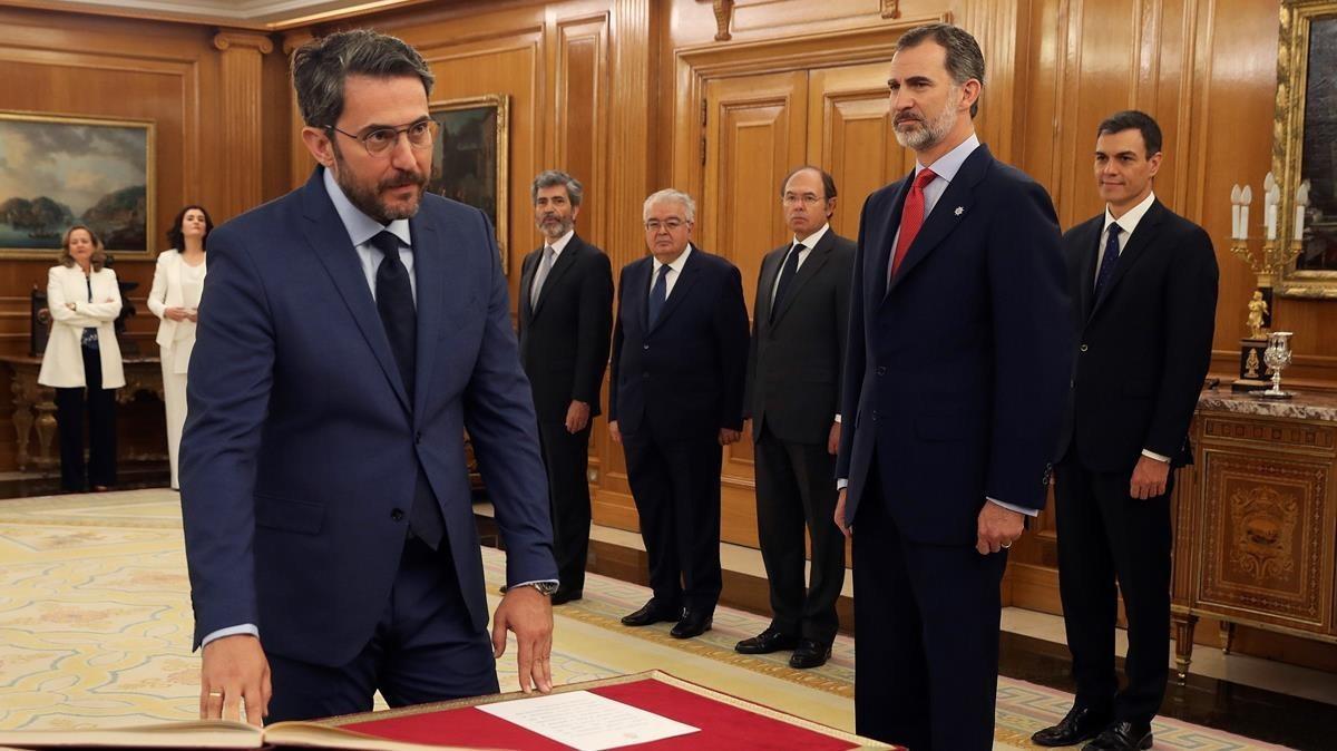 Màxim Huerta promete el cargo como ministro de Cultura y Deportes.