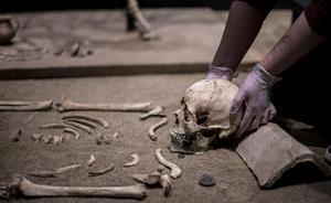 Una arqueóloga del Museu de Badalona acomoda el cráneo de una joven romana de Baetulo sobre su almohada de teja.