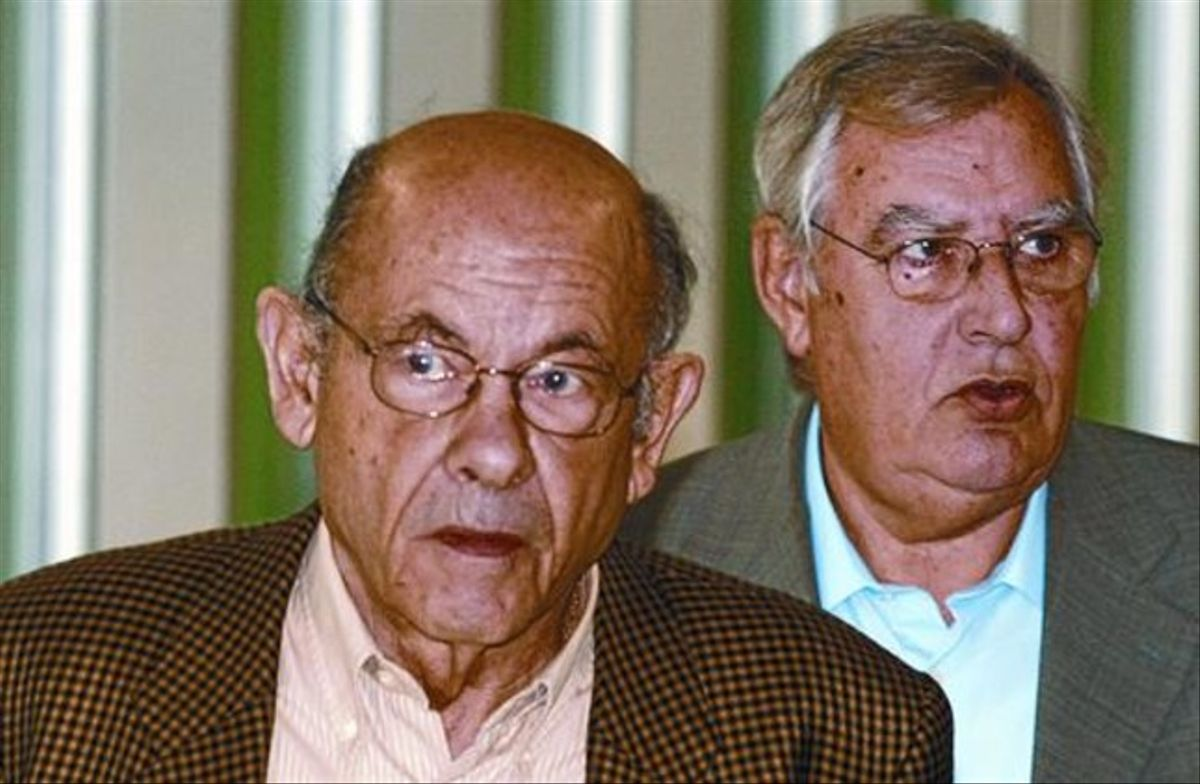 Fèlix Millet y Jordi Montull, en octubre del 2009, tras prestar declaración en la Ciutat de la Justícia.