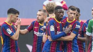 Dembelécelebra su goldurante el partido de ligaentre el FC Barcelonay el Betis / Jordi Cortina
