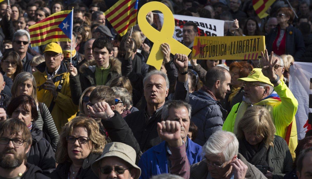 Movilizaciones en apoyo a los presos en Barcelona.