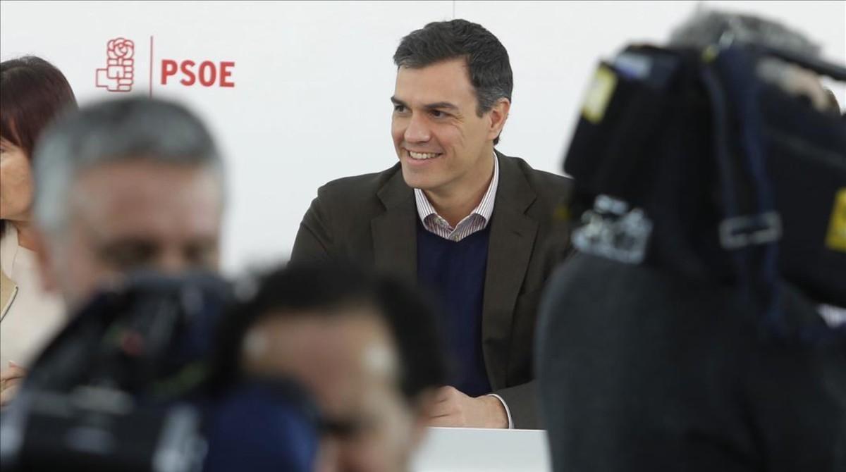 Sánchez, este lunes, durante la reunión de la ejecutiva del PSOE.