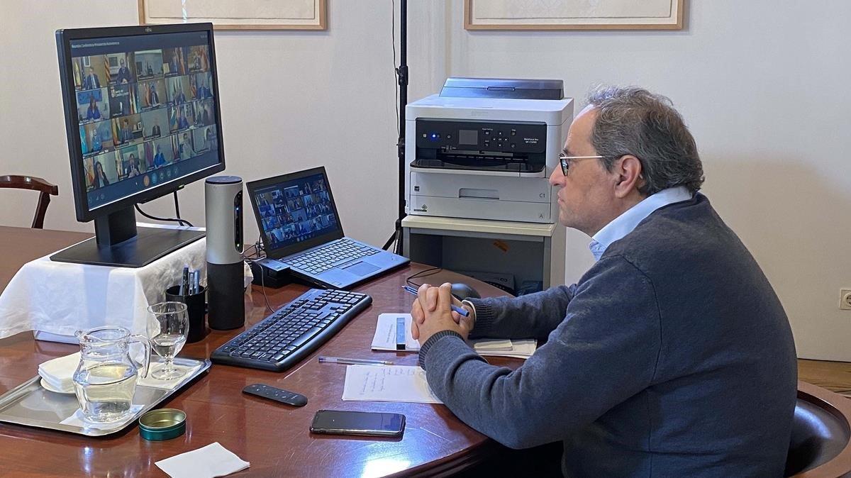 Quim Torra, durante la videoconferencia de presidentes de este domingo.